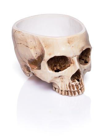 cup of a human skull isolated on white background