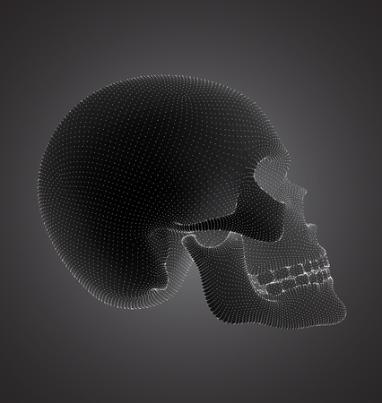 vectorial set of human skulls with square and triangular polygons.