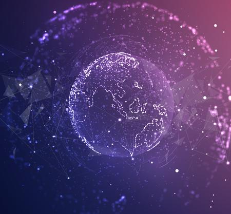 globe vectoriel, planète terre, à partir de points. concept bigdata, traitement et collecte de données Vecteurs