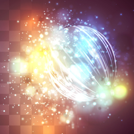 a bright colored energy stream swirling against a dark background. vector abstract concept