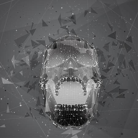 3d vector human skull of all segments explodes. bright art.