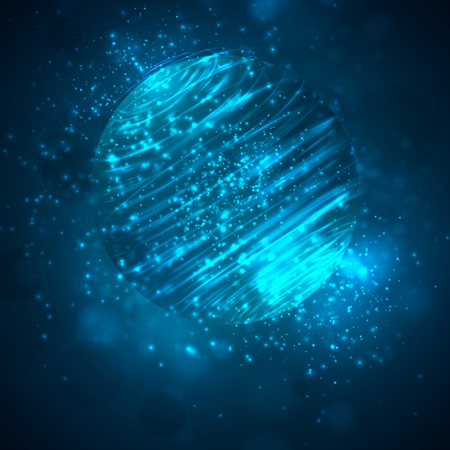 a bright blue colored energy stream swirling against a dark background. vector abstract concept Vector Illustratie