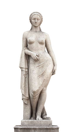 stone statue to a beautiful girl isolated