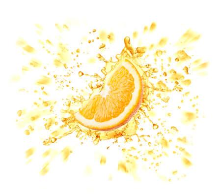 Orange slice and spray of juice isolated on white background