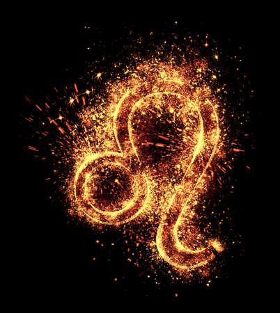 leo symbol spark is isolated on black background