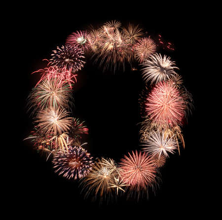 Alphabet letters from salute and fireworks