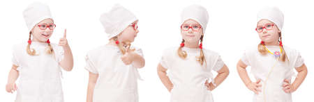 young girl with glasses plays in the doctor as a mom Reklamní fotografie