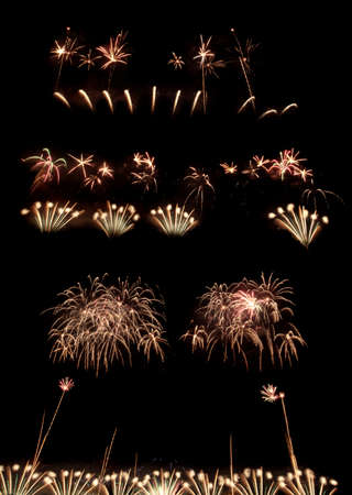 group of explosions in the sky. bright salute. fireworks and festive mood Stock Photo