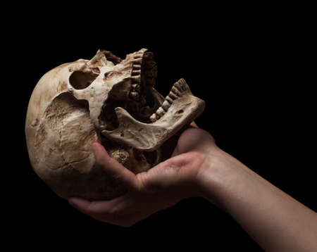 hand holding a skull is isolated on black background Stock Photo