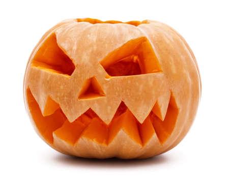 Orange halloween pumpkin on white background