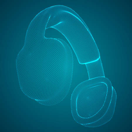 vector concept of musical headphones. style of a set of abstract points and dots
