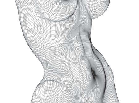 A three-dimensional female body from square polygons. Black and white style.