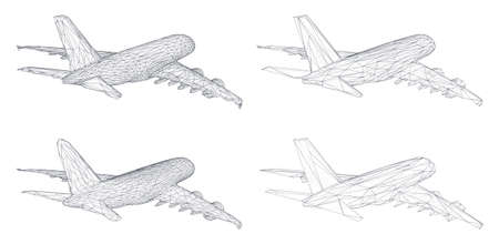 vector set of aircraft from triangular segments. design element for business and tourism