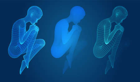 vector set of female figures in dance poses on the blue background Иллюстрация