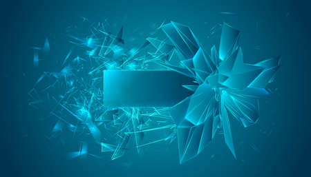 Vector image. The crystal explodes into small pieces. Place for text on an empty template