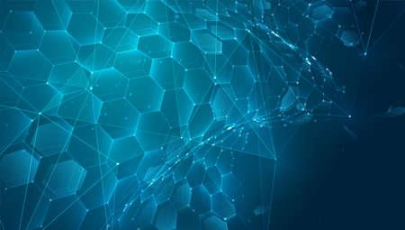 abstract vector background with hexagons. landscape of the virtual world. 3d design Vektoros illusztráció