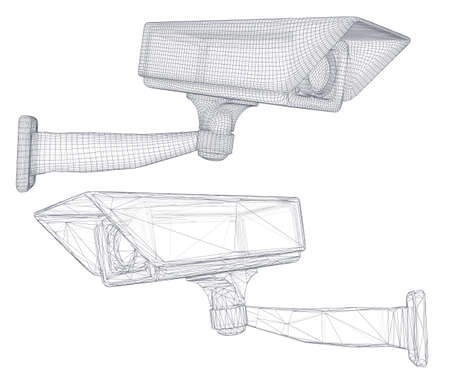 set of vector images. CCTV camera for building and street security