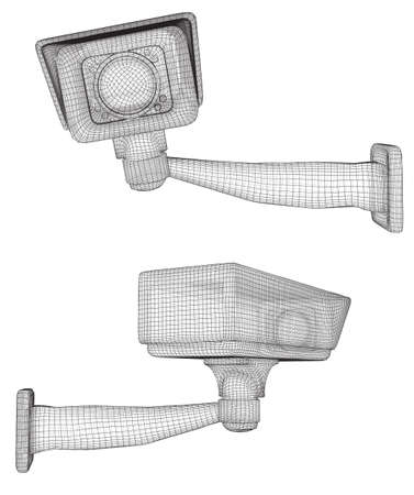 set of vector images. CCTV camera for building and street security Vettoriali