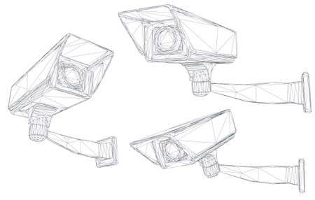 set of vector images. CCTV camera for building and street security 向量圖像