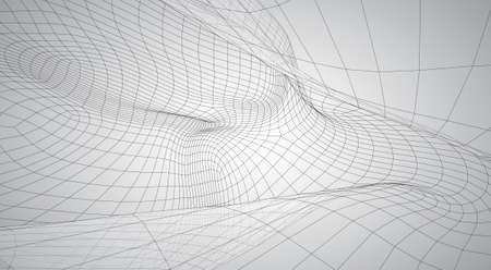 3d vector space from square polygonal meshes, abstract form on a white background