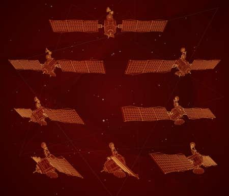 vector set. communications satellite of near-earth orbit. space technology of the future. Ilustração