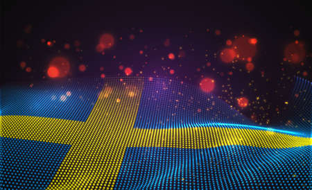 Vector bright glowing country flag of abstract dots.Sweden 向量圖像