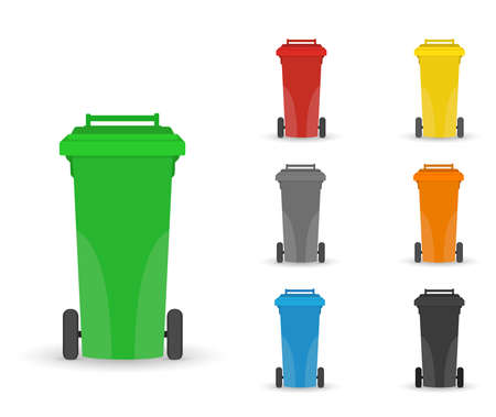 garbage containers for sorting waste. Vector image in a flat cartoon style. Concept care for the environment