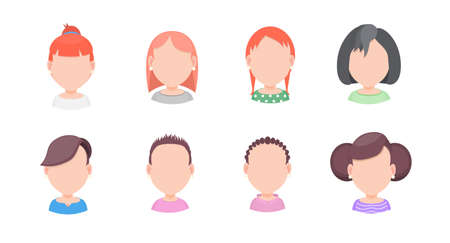 Set of vector portraits of women with different hairstyles in a flat style, for avatar in social networks