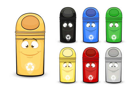 Waste containers for sorting waste. Vector image in a flat cartoon style. Concept care for the environment