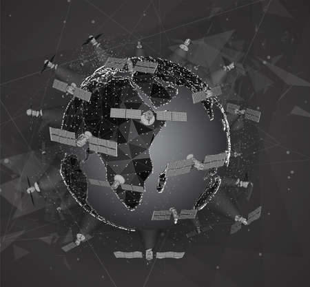 vector globe, planet earth, from dots. communications satellite of near-earth orbit. concept bigdata.
