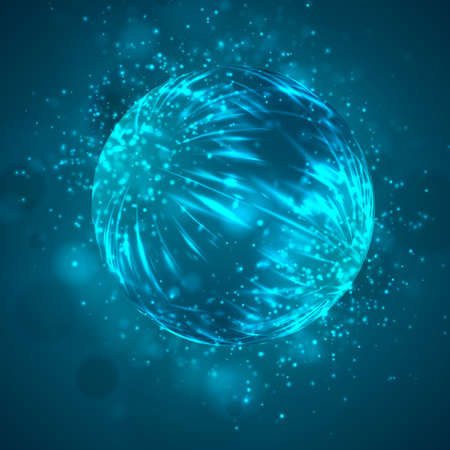 a bright blue colored energy stream swirling against a dark background. vector abstract concept Vektorgrafik
