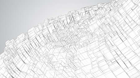 vector geometric background. abstract square shapes and bends Ilustrace