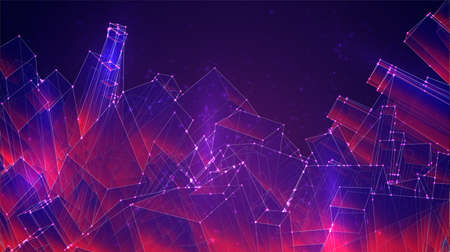 vector geometric background of cubes and squares in purple and pink colors Ilustrace