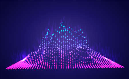 Vector abstract info graphic in the form of a mountain. bright glowing design element.