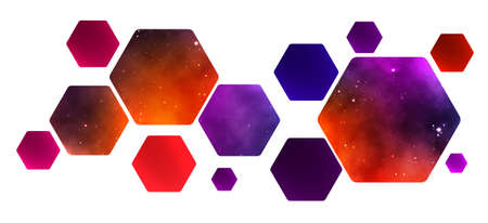 Hexagonal honeycomb with a palette of flowers. space backgrounds. vector design