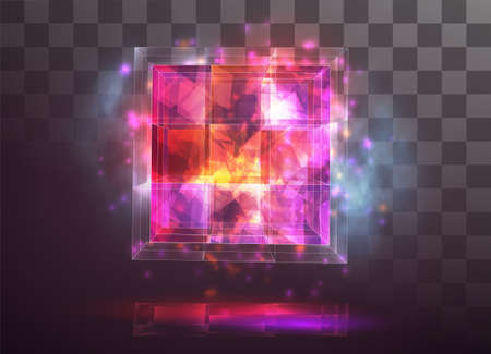 vector crystal. power and energy of the elements. blue, violet, neon glow.