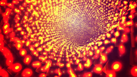 abstract vector background, bright infinite tunnel of glowing segments.