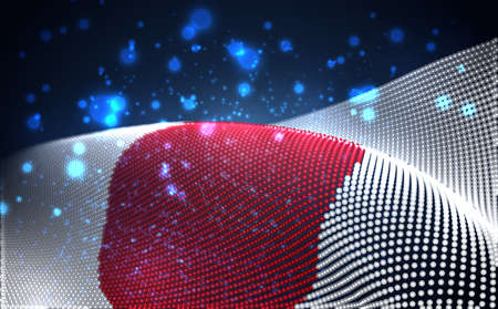 Vector bright glowing country flag of abstract dots. Japan
