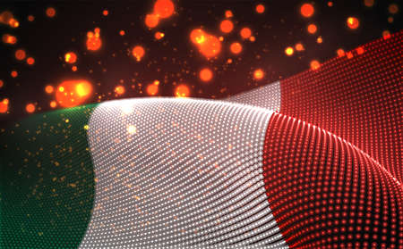 Vector bright glowing country flag of abstract dots. Italy