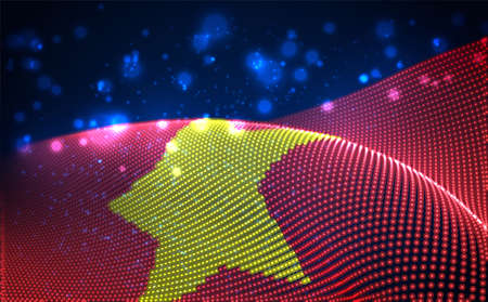 Vector bright glowing country flag of abstract dots. Vietnam