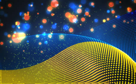 Vector bright glowing country flag of abstract dots. Ukraine