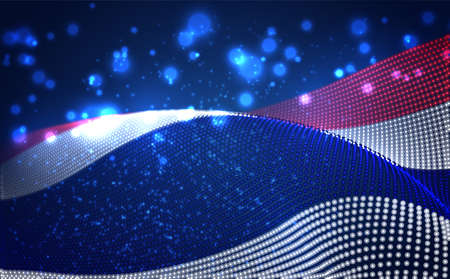 Vector bright glowing country flag of abstract dots. Thailand