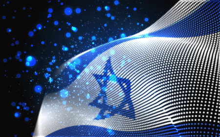 Vector bright glowing country flag of abstract dots. Israel