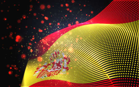 Vector bright glowing country flag of abstract dots.Spain