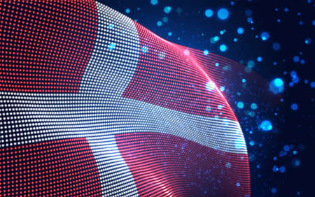 Vector bright glowing country flag of abstract dots. Denmark Иллюстрация