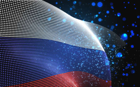 Vector bright glowing country flag of abstract dots. Russia