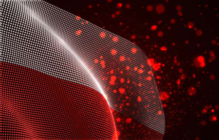 Vector bright glowing country flag of abstract dots. Poland Иллюстрация