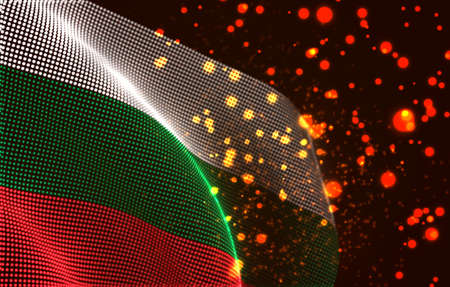 Vector bright glowing country flag of abstract dots. Bulgaria
