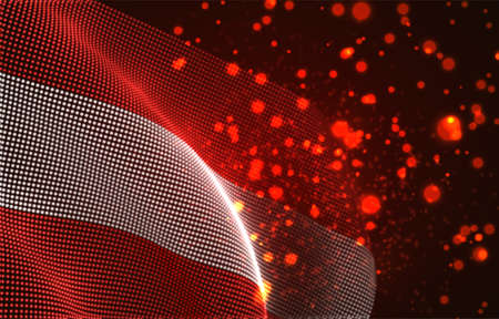 Vector bright glowing country flag of abstract dots. Austria Иллюстрация