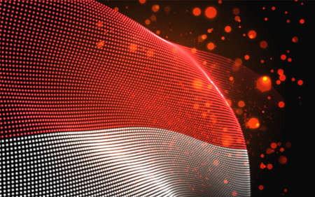 Vector bright glowing country flag of abstract dots. Monaco Иллюстрация
